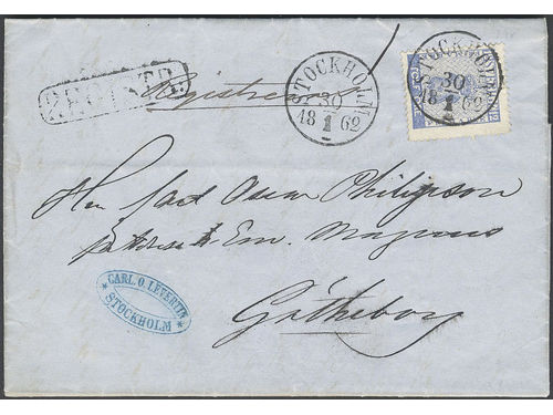 Sweden. Facit 9h1 brev, 12 öre bright ultramarine on beautiful recorded cover with cancel REGISTR:, sent from STOCKHOLM 30.1.1862 to Gothenburg.