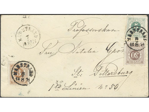 Sweden. Facit 17e, 19d, 25e brev, 3+5+30 öre on cover sent from MARSTRAND 8.8.1874 to Russia. Cancellations STOCKHOLM 9 and 11.8.1874, ST. PETERSBURG 3.AUG.74. The 5 öre stamp with pre-printing paper fold (