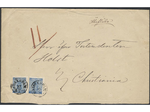 Sweden. Facit 9c2 brev, 2×12 öre on beautiful insufficiently prepaid 3-fold cover sent from STOCKHOLM 25.2.1867 to Norway. Notations