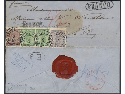 Sweden. Facit 7b1, 8c, 11d1 brev, 5+5+9+30 öre on a cover written by Queen LOVISA OF Sweden to her former governess. Canc. Stockholm 2.10.1866 via Lübeck Lauenburg 5.10 to The Netherlands, s'Gravenhahe 6.10.66. Cert. HOW 3 (1,3,4,4) 4,3. Very nice ex.