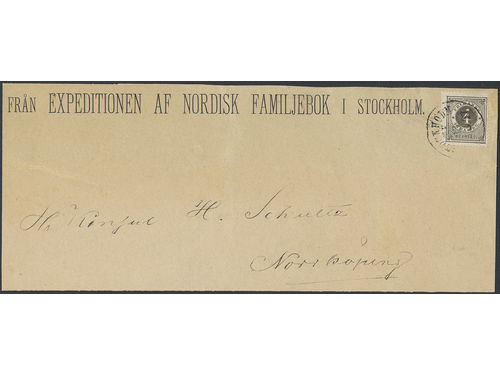 Sweden. Facit 18a brev, 4 öre on newspaper wrapper of 2nd level sent from STOCKHOLM T.E. 13.6.1877 to Norrköping. The special newspaper rate was 1öre per 10 ort, with minimum fee 3öre. Scarce rate for which usage this stamp was issued. Ex. Leon Nordin. SEK30000