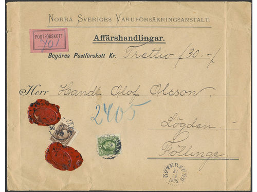 Sweden. Facit 52, 58 brev, 5+30 öre on commercial papers cover sent with cash on delivery from SUNDSVALL 29.12.1899 via ÖSTERSUND 31.12.1899 to FÖLLINGE. Commercal papers with COD are very scarce – this is the earliest recorded example according to Ferdén, in which work the item is also depicted.