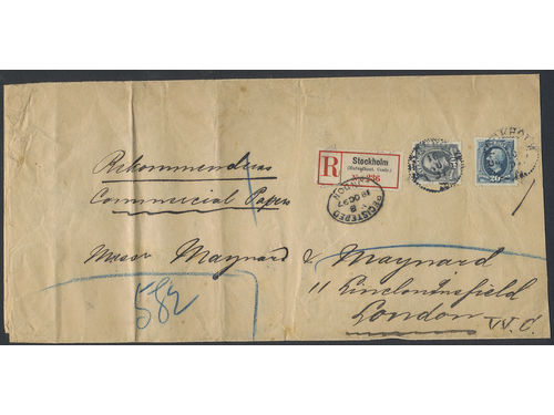 Sweden. Facit 59, 56 brev, 20+50 öre on spectacular registered commercial papers, sent from STOCKHOLM 16.10.1897 to Great Britain. Arrival pmk REGISTERED LONDON 18.10.97. Registered CPs are very scarce, of which this is the only recorded to Great Britaian according to Ferdén.