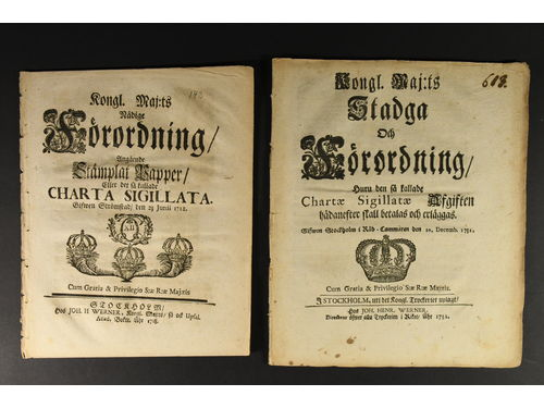 Literature, Sweden. Six different Swedish Royal Majesty Ordinance regarding CHARTA SIGILLATA: 1718, 1732 (two different), 1736, 1748 and 1803. All intact in fine condition. A group hard to obtain. (6).