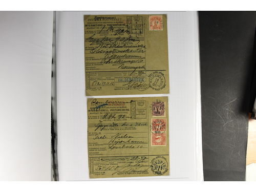 Sweden. Collection cover GUSTAF V in medallion period in six binders. Comprehensive collection incl. most types of mail, many different additional services, postal stationery, postal forms, etc. In total, 309 domestic usages, 109 items sent to Europe and 54 sent overseas, incl. some duplication. Many rare destinations, including e.g. British Guiana, Colombia, Cuba, Danish West Indies, Haiti, Hawaii, Madagascar, Panama, Portuguese West Africa and Straits Settlements. Further, a few censored mail items and other interesting items. Scarce offer and an excellent basis for an exhibit, Please see a selection of scans at www.philea.se. (472)