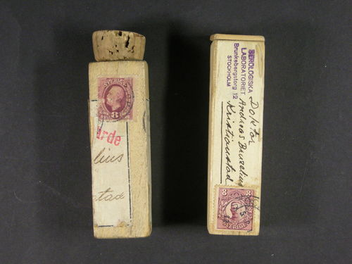 Sweden. Collection/accumulation cover mostly 1920s–1930s. Covers, cards, etc., in one album and one box, incl. e.g. many sent to Bäckaskog, a few large format items and curiosa. Also two very scarce and interesting wooden tubes for blood samples franked with 8öre OscarII and 8öre GustafV in medallion. Somewhat mixed quality. (400)