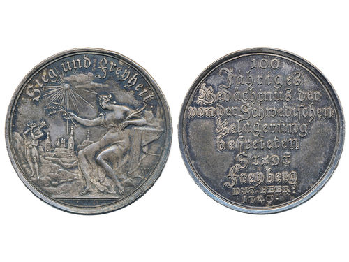 Medals, non-regal, Germany Saxony. 1743. 14.57 g. The liberation of Freiberg 100th anniversary, 34 mm. XF.