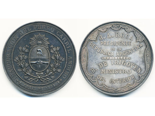 Medals, non-regal, Argentina. Silver medal April 1885 to the inaguration of Andean railway. Engraved by Grande. 50 mm, 50.04 g. XF-UNC.