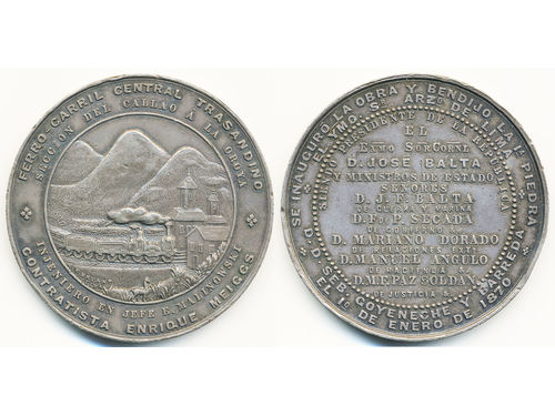Medals, non-regal, Peru. Silver medal 1870 to inaguration of Trans-Andean central railway. 50 mm, 69.50 g. Fonrobert 9200, Moyaux 432. XF.
