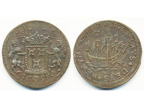 Tokens, Netherlands. Copper jeton dated 1698. 7.61 g. Jean-Jacques de Brouckhoven. Brussels minted. Obv: Arms with two crowned lions and date. Rev: Ship with text NICOLAVS DEYS RENTMEESTER. Rare. Dugn. 4655. VF.