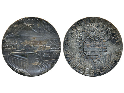 Medals, non-regal, Austria. Olympics 1976 Innsbruck. Silverplated brass participation medal. Gadoury page 434, 2. XF.