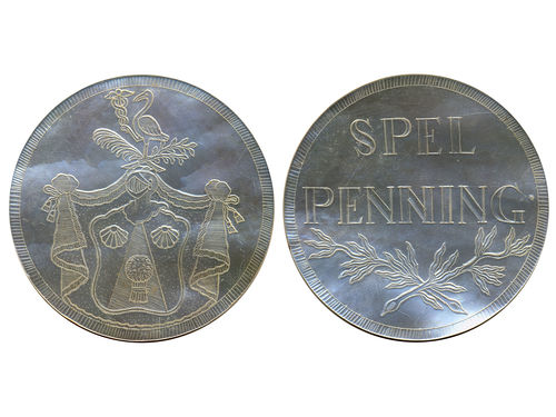 Game tokens, Sweden. Gambling token in mother of pearl, with Coat-of-Arms of the Noble family Sneckenberg (extinct 1841), (45 mm), 7.95 g. 01/0.