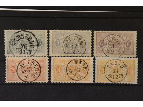 Sweden. Used. Six Official stamps mostly with superb canc. incl. Tj4c+d+e, Tj6 and two copies Tj7.