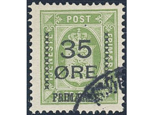Denmark. Facit 122a stpl,, 1912 Surcharge on Official stamps 35 / 32 øre yellow-green. Beautiful example of this very rare stamp. SEK14000