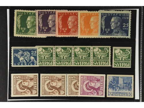 Sweden. ** 1920s–1940s on stock card. F226–30 (SET), 236, 239A, E, 329 and 335-36. Very fine quality. Fine quality. 1590. (16)