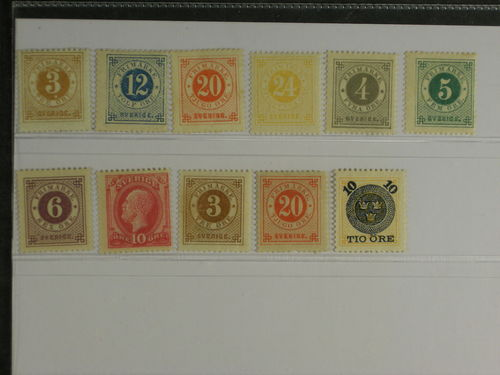 Sweden. * 1877–1891. All different, e.g. F 28, 32, 33(*), 34, 42-46. Mostly good quality. F SEK 6.040 (11)