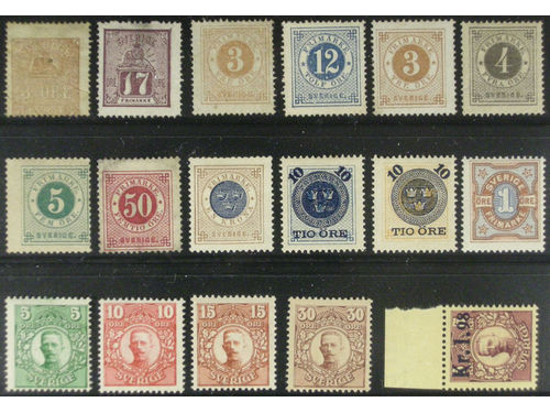 Sweden. Lot * 1860s–1910s on stock card. All different. Classic stamps in mixed quality incl. a few without gum and F15, 42, 48 and 49 thin. Facit close to 15000 (18)