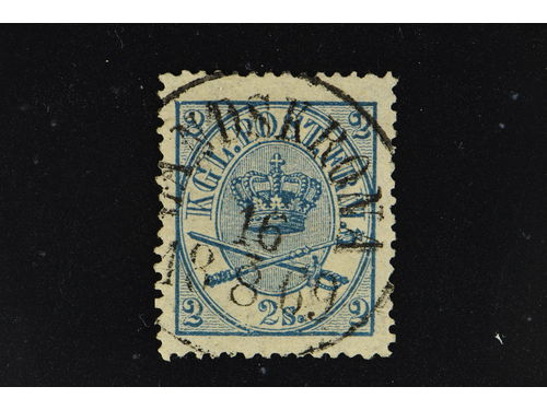 Denmark. Facit 12 stpl,, 1865 Large oval type 3 Skill lilac perf 13 × 12½. With almost comlete cancelled LANDSKRONA 16.8.69 (Sweden).