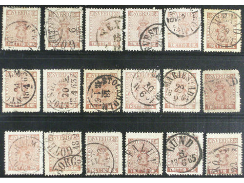 Sweden. Facit 11 stpl,, 30 öre brown, eighteen used copies. Shades, varieties, cancellations? Mixed quality. (18). SEKat least 4950