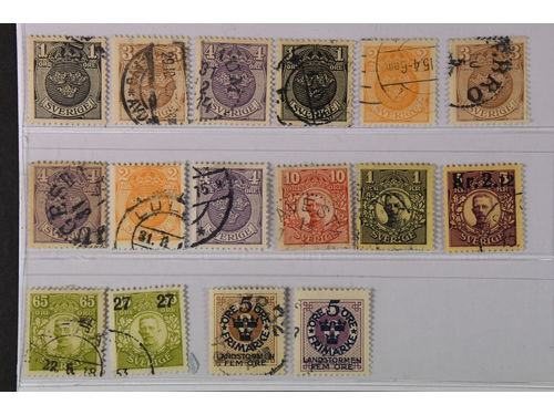 Sweden. Used 1911–1916. Differing watermarks. All different, e.g. F 71cx+cxz, 73-74cxz, 72-74cx, 72v1, 74v1, 106cz, 109cz. Mostly good quality. F SEK 5.125 (16)