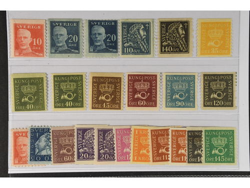 Sweden. * 1920–36. Coil stamps. All different, e.g. F 149A, 151A+C, 154-55, 156, 158-60, 163b, 167a, 171. Mostly good quality. F SEK 5.025 (21)