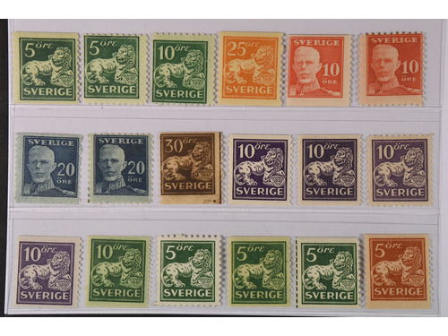 Sweden. ** 1920–36. Small coil stamps. All different, e.g. F 140A+C, 144C, 147, 149A+C, 151A+C. Mostly good quality. F SEK 5.065 (18)
