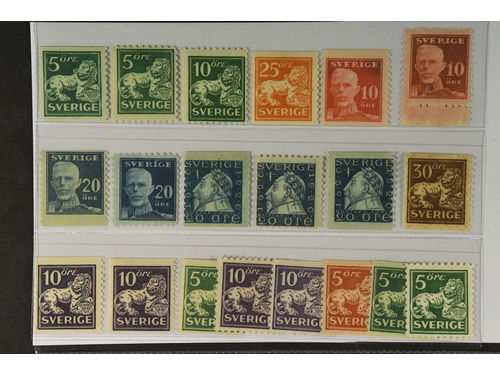 Sweden. ** 1920–36. Small coil stamps. All different, e.g. F 140A+C, 144C, 147, 149A+C, 151A+C, 152Abz. Mostly good quality. F SEK 6.055 (20)