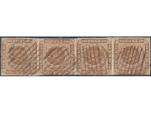 Denmark. Facit 4f stpl,, 1857 Skilling 4S. orange-brown. 1857 Skilling 4S. orange-brown (5th printing plate V). Very fine horizontal strip of four with small to good margins on three sides, cut in at bottom. Cancelled with four strikes of Norwegian 10 grid cancellation in black. Very scarce combination. Certificate Lasse Nielsen (2008). SEK130