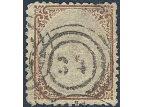Denmark. Facit 27 stpl,, 1870 Bi-coloured type 48 skill lilac and brown, line perf 12½. Cancelled with numeral cancellation
