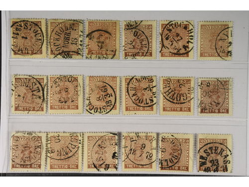 Sweden. Facit 11 stpl,, 30 öre brown. 18 copies. Different shades. Some with readable cities (and date). SEK4.950
