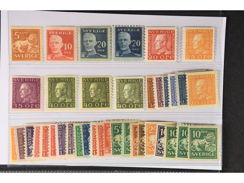 Sweden. * 1920–36. Coil stamps.. All different, e.g. F 141, 149A, 151A+C, 180b, 184, 187a, 189, 190a+b. Mostly good quality. F SEK 5.195 (38)