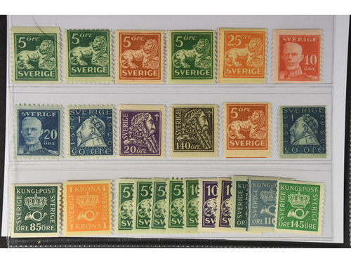 Sweden. ** 1920–36. Coil stamps. All different, e.g. F 140A+C, 142Ecc, 143Acc, 147, 149A, 151C, 152C, 153, 155, 166b, 168b. Mostly good quality. F SEK 6.100 (24)