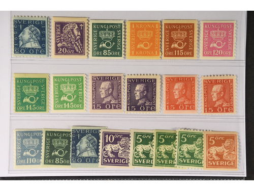 Sweden. ** 1920–36. Coil stamps. All different, e.g. F 152C, 153, 166b, 168b, 170a, 172b, 174b+c, 175A+C, 176A+C. Mostly good quality. F SEK 5.055 (22)