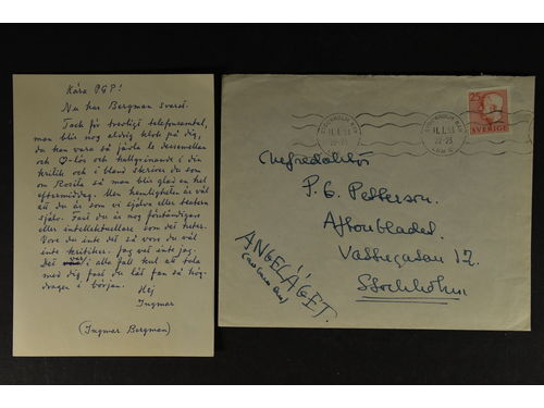 Autographs, Sweden. INGMAR BERGMAN (1918-2007). Swedish film director, screenwriter, and producer. Handwritten envelope to the editor in chief of the newspaper Aftonbladet 1953. Copy of the content included.