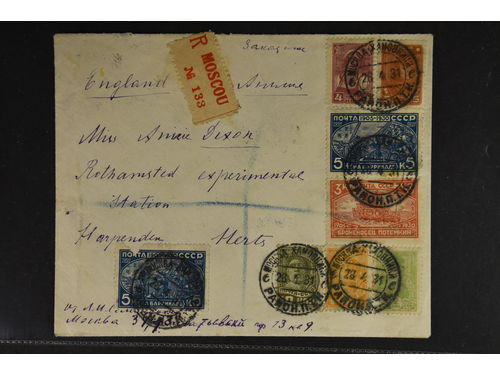 Soviet Union. Michel 394–95 + brev,, Registered cover sent to England franked with 8 stamps tied by Moscow cds 28.1.31 and arr cds on reverse together with violet