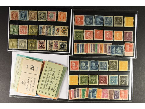Sweden. Lot **/* 1891–1940. E.g. F49c * (shade by OP), some Oscar II-Gustaf V in medallion and many coil stamps. Also some booklets and BC/CB-pairs. (100)