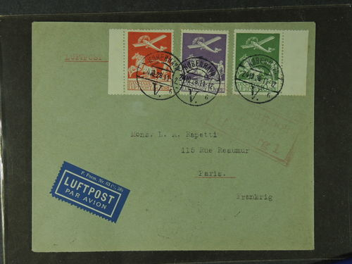 Denmark. Facit 213–15 brev,, 10, 15, and 25 öre Air mail 1925, cover to France cancelled Kjöbenhavn 24.10.28. Red boxed Hamburg, arrival cancellation on reverse. Very fine.
