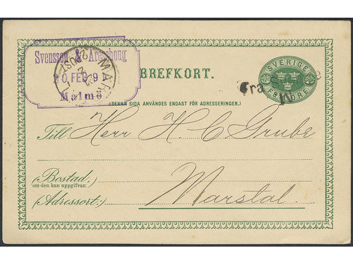 Sweden. DENMARK, . Danish cancellation FRA SVERIGE M with inverted M, together with MARSTAL 2.POST 21.2, as only cancellations on postcard sent from Malmö to Denmark. Very scarce variety on cover.