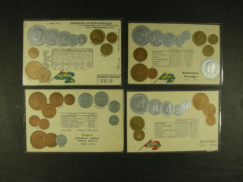 Sweden. Lot vykort. Swedish and Norwegian coin ppc's. Four different multi-coloured mint, OscarII and GustafV, all with exchange rates printed. Very decorative with coins embossed. German manufacturing. Fine to very fine condition. (4)