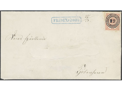 Denmark. Facit 13 brev,, 1864 Large Oval Type 4 skill light red 2nd print cancelled