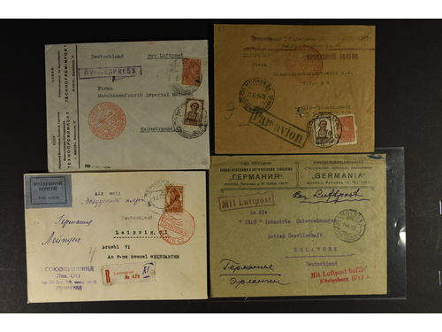 Soviet Union. Cover. Four air mail covers 1923–34 franked with different stamps.