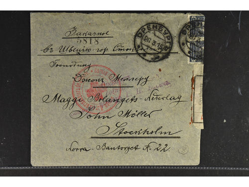 Russia. Brev,, Registered WWI cover from Orenburg 1915 w three different censors applied several times and sent to Stockholm. One censor is a huge red seal used to seal the censor label. A Russian Rex Cross huge handstamp applied .A very nice and interesting PH item during WWI in very good condition.