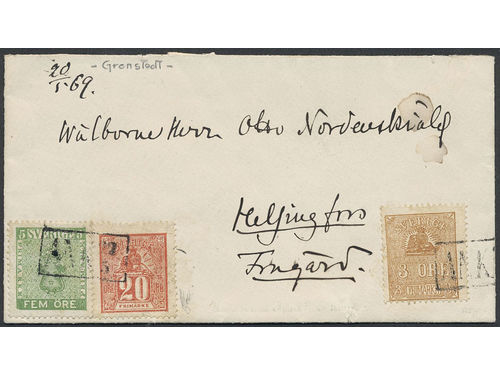 Sweden. Facit 7b2, 14Bd, 16e brev,, 3+5+20 öre on interesting cover sent to Finland and only cancelled upon arrival ANK 22.5. Just a few perfs with some minor remarks. Signed by Grenstedt and O.P. and certifiacte by Grenstedt (1982) and HOW 3 (3,3,4) (2,3) 3 (2019). Only a few such ship mail items exists. Ex. Holbache collection.