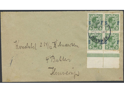 Denmark. Facit 168 brev,, 1917 Soldier stamps 5 øre green in block of four with sheet margin on cover sent from KRIGSFAN... No 2 DANMARK 21.12.17.