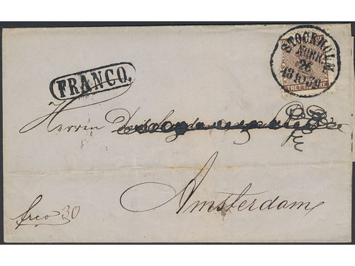 Sweden. Facit 11 brev,, 30 öre on cover sent from STOCKHOLM NORR 26.10.1869 to the Netherlands. Transit PKXP Nr 2 28.10.1869 and arrival pmk AMSTERDAM 30.OCT.69. The stamp is defective but still a beautiful item. SEK2500