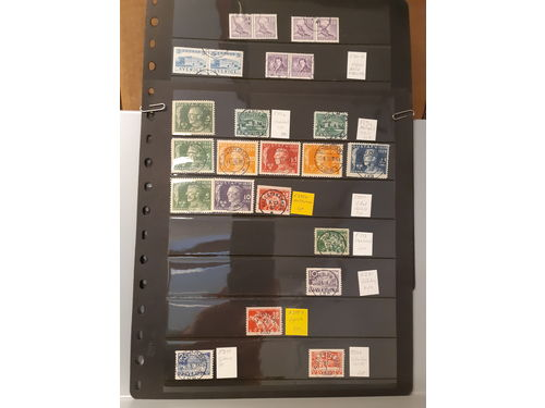 Sweden. Used. Lot very fine cancels 1924 on 16 stamps 1924-35. Also 332BC, 320BC, 273BC/CB.