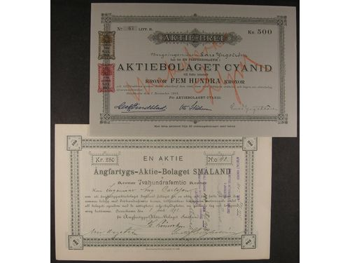 Stock certificates, ALL WORLD. 8 share certificates, Sweden and USA, 1898-1970, mixed quality.