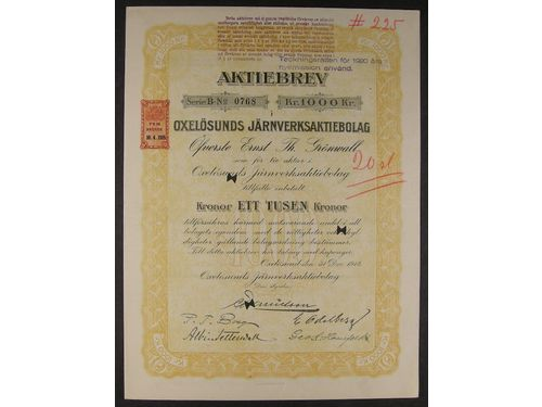 Stock certificates, Sweden. 12 share certificates, 1895-1923, mixed citys. XF.