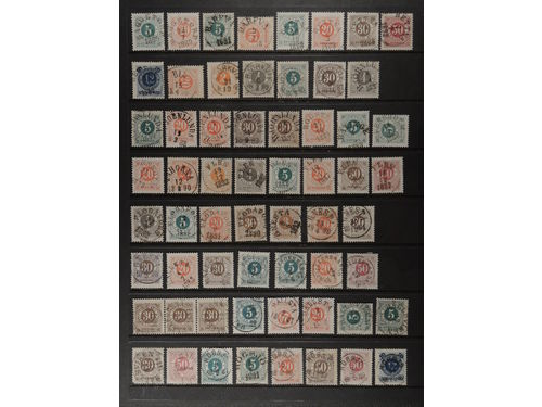 Sweden. Collection stämplar D–county. Readable–superb/EXCELLENT cancellations on Circle type ph, mostly different seen from the combination town/cancellation/stamp. Also seventeen postage dues and four official stamps. E.g. EKENSHOLM and HÅLLSVIKEN. Somewhat mixed quality. (212)