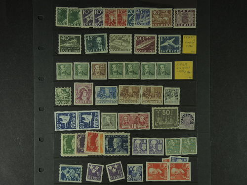 Sweden. **. Lot mixed better issues on visir leaves 1930s–40s. E.g. F 246-57, 238, 318BC/CB, 336, 205, 324BB, 138, 269CB, 528BB, and Three Crowns complete etc. Very fine quality. Catalogue value over 10000